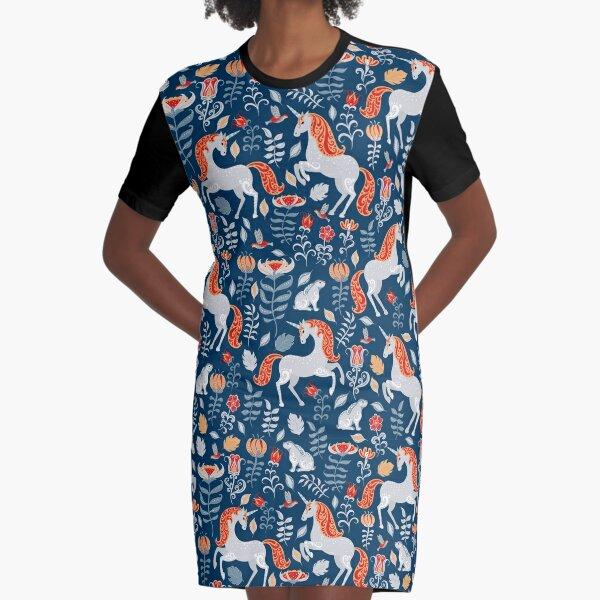 Unicorns, rabbits, birds, flowers. decorative seamless pattern. Folk art. Graphic T-Shirt Dress