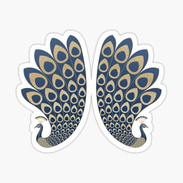 Blue and Gold Art Deco Peakock Sticker