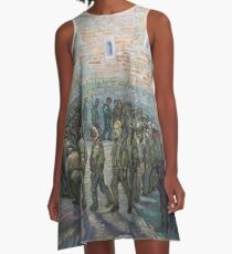 The Round of the Prisoners (after Doré) - Van Gogh A-Line Dress