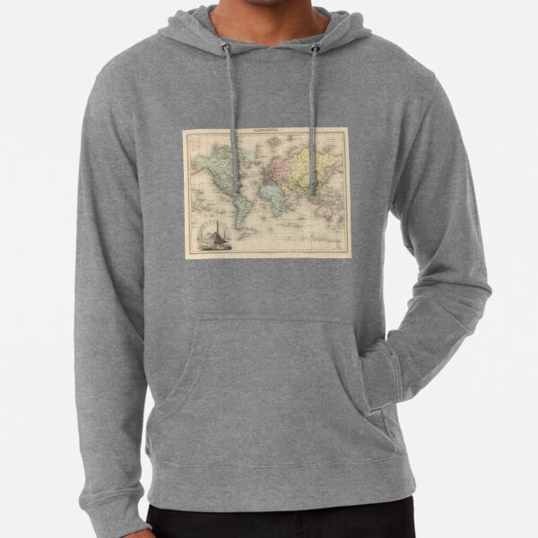 Vintage Map of The World (1892) Lightweight Hoodie