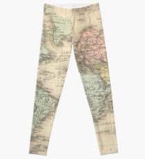 Vintage Map of The World (1892) Leggings
