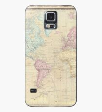 Vintage Map of The World (1862) Case/Skin for Samsung Galaxy