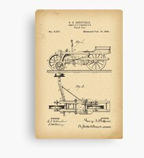 1881 Patent hand car railway trolley history invention Canvas Print