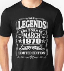 Legends are born in march 1970 Unisex T-Shirt