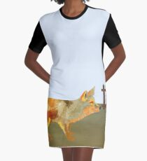 The Fox and the Vineyard Graphic T-Shirt Dress