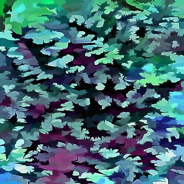 Foliage Abstract Pop Art In Teal, Blue and Green by taiche