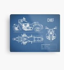 The Chief Motorcycle Blueprint Metal Print
