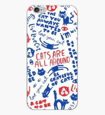 Cats Are All Around - Pattern // Red And Blue iPhone Case