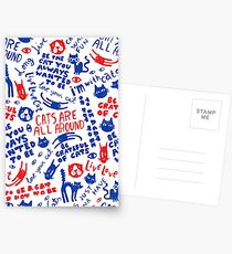 Cats Are All Around - Pattern // Red And Blue Postcards