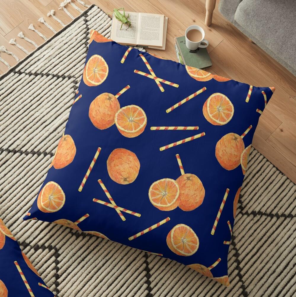 orange juice _blue Floor Pillow
