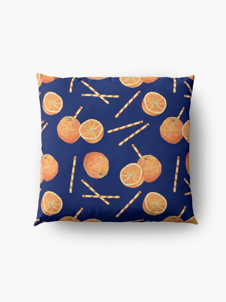Alternate view of orange juice _blue Floor Pillow
