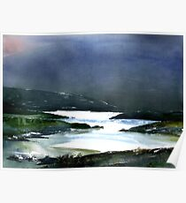 Icy white waters in forest black onyx mountains Poster