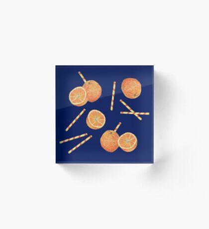 orange juice _blue Acrylic Block