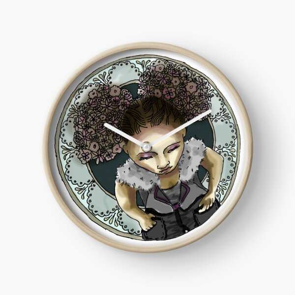 Afro Puff from above with Mucha Border - Purple and Teal Version Clock