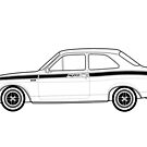 Ford Escort Mexico Outline Artwork by RJWautographics