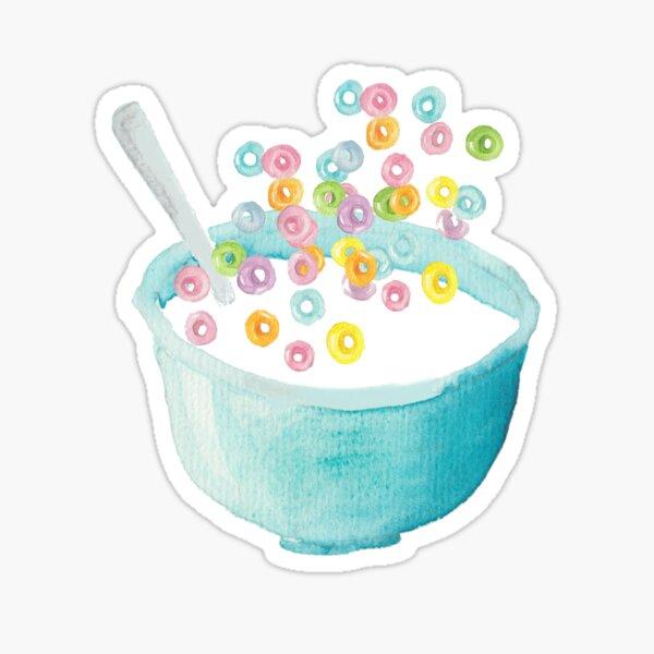 Watercolor Fruit Loops - Cereal Lover - Watercolor Food Illustration - Fruit Loops Sticker