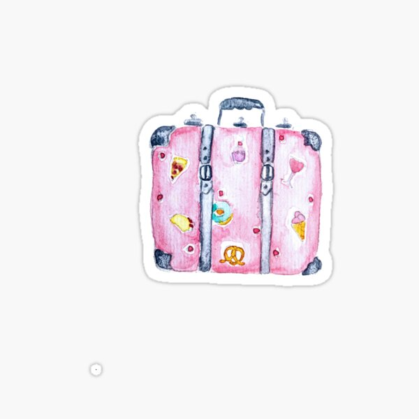 Watercolor Travel Suitcase Illustration - Travel Lovers - Travelers - Journey - Voyage - Trip Sticker