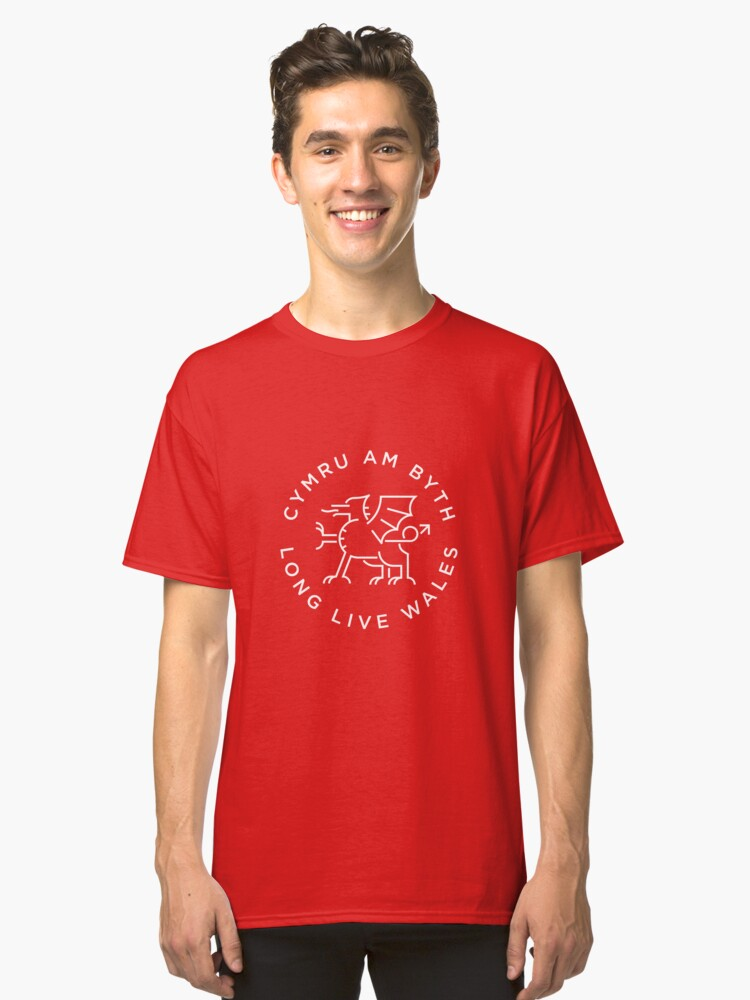 Welsh Dragon white line Classic T-Shirt Front