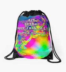 Art is the Proper Task of Life Drawstring Bag