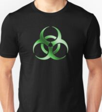 Biohazard Symbol Sign - Acid Green - Metallic T-Shirt