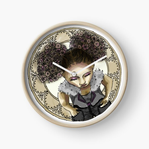 Afro Puff from above with Mucha Border - Golden Version Clock