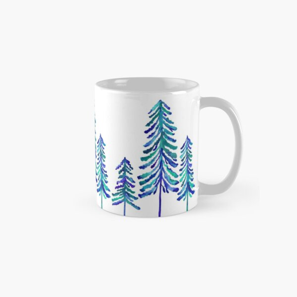 Pine Trees – Navy & Turquoise Palette Classic Mug