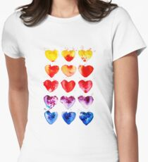 Watercolor Hearts Rainbow Women's Fitted T-Shirt