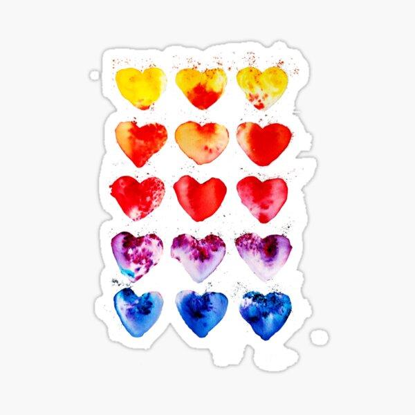 Watercolor Hearts Rainbow Sticker