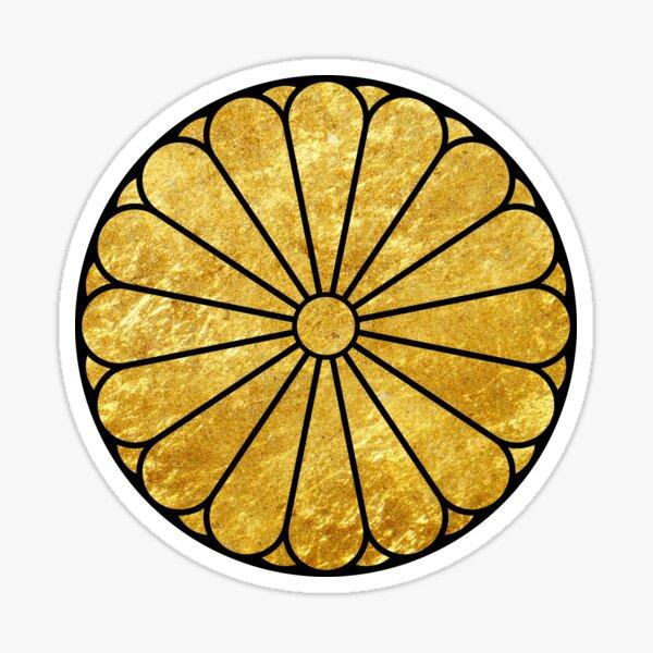 Kiku Chrysanthemum Mon faux gold Sticker