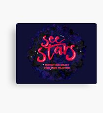 """Stargazing """"See Stars"""" Light Pollution Awareness Graphic Canvas Print"""