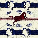 Ancient Greek Fresco - Navy & Red  by Perrin Le Feuvre