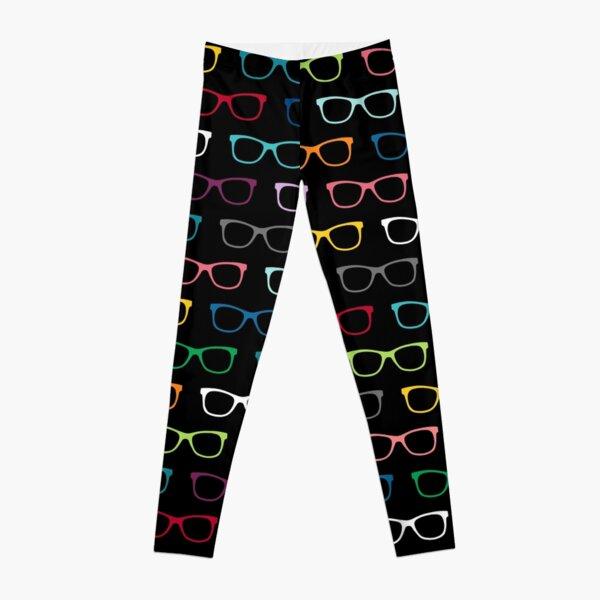 Colorful Hipster Eyeglasses Pattern Leggings