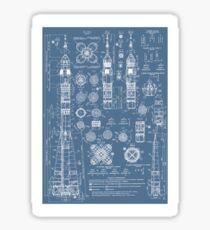 Weinlese Soyuz Rocket Blueprints Russischer Sowjet-Ära-Raum Sticker