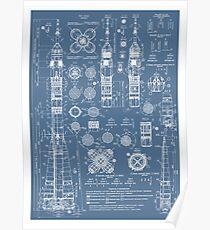 Weinlese Soyuz Rocket Blueprints Russischer Sowjet-Ära-Raum Poster