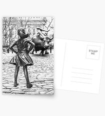 Fearless Girl And Wall Street Bull Statue - New York Postcards
