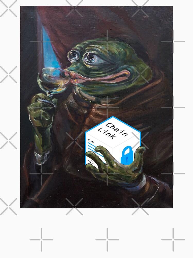 Öl-Leinwand Pepe Holding Chainlink von HODLApparels