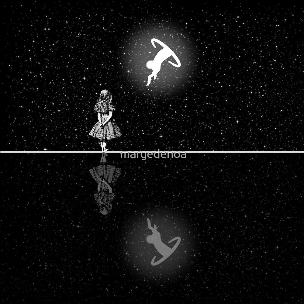 «FollowThe White Rabbit - Noche estrellada - Blanco y negro» de maryedenoa