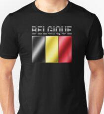 Belgique - Belgian Flag & Text - Metallic T-Shirt