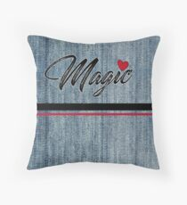 Magic Heart Stonewashed Denim Throw Pillow