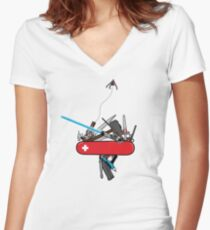 The geek army knife Women's Fitted V-Neck T-Shirt
