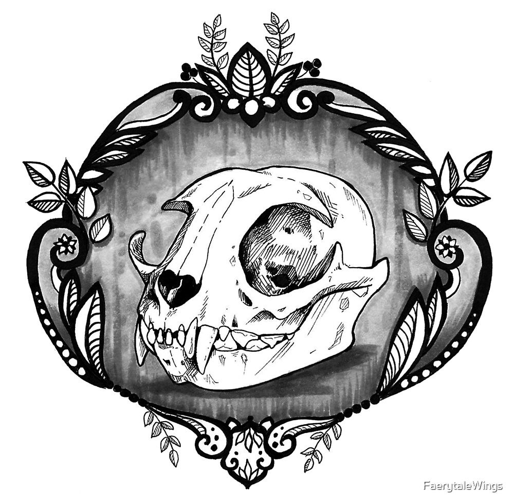 Cat skull by FaerytaleWings
