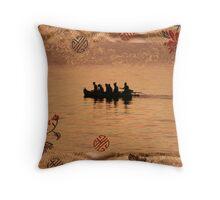 Gold Silk Water, Gold Chinese Silk  Throw Pillow