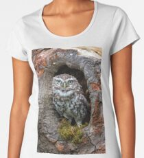 Owl in a tree hole Women's Premium T-Shirt