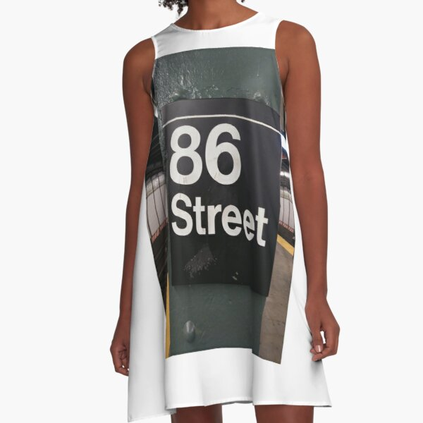 New York, Manhattan, Brooklyn, New York City, architecture, street, building, tree, car, pedestrians, day, night, nightlight, house, condominium,  A-Line Dress