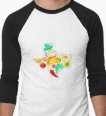 Watercolor Texas Tacos Illustration Men's Baseball ¾ T-Shirt