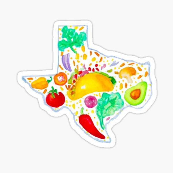 Watercolor Texas Tacos Illustration Sticker