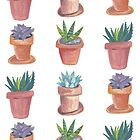 Succulents are awesome! Hand painted succulents in terracotta pots by shoshannahscrib