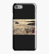 'Women on the Beach of Enoshima' by Katsushika Hokusai (Reproduction) iPhone Case/Skin