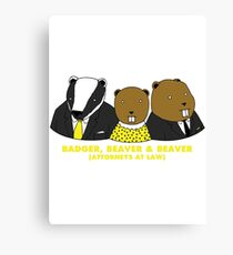 Badger, Beaver and Beaver Canvas Print