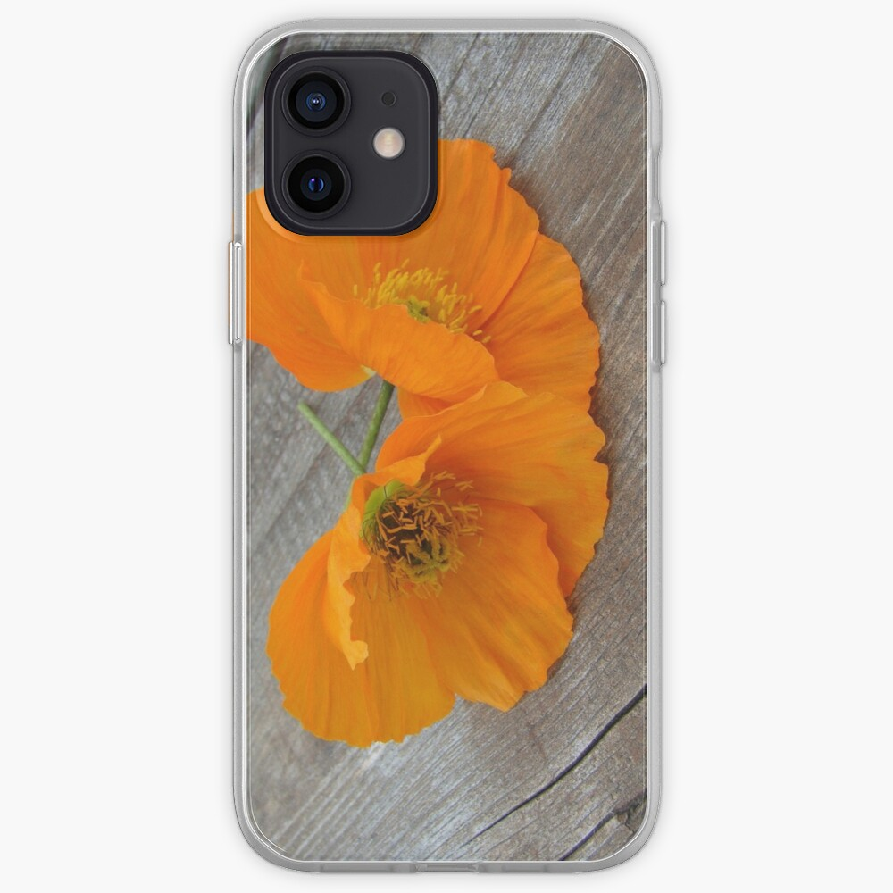 Orange flowers on a wooden table iPhone Case & Cover